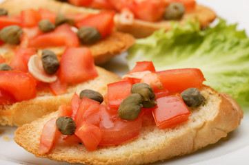 Sandwich with capers close-up