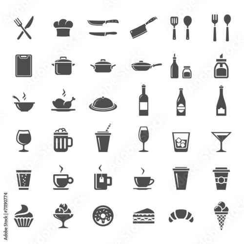 Restaurant kitchen icons - 71190774