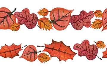 Vector Watercolor autumn Leaves seamless border.Red
