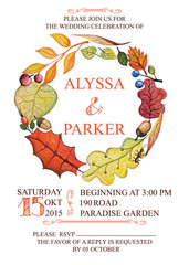 Autumn wedding invitation with watercolor leaves wreath