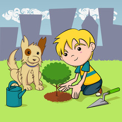 Child planting a tree, dog and kid environmental