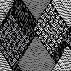 Abstract geometric background. Monochrome hand-drawn seamless pa