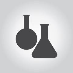 Flask black icon set. Medical tool grey icons set. Flat design s
