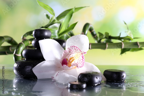 Fototapeta na wymiar Spa stones and white orchid on table on natural background