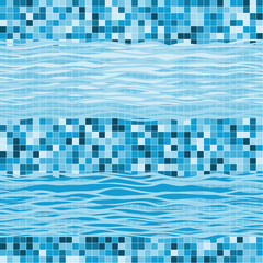 Seamless geometric pattern with waves. Marine abstract  backgrou