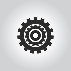 Gears icon. Industy black grey icons set. Flat design style. Vec