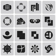 geometric figures Black icons set. Vector Illustration eps10