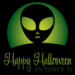 Alien rising moon Halloween card in vector format.