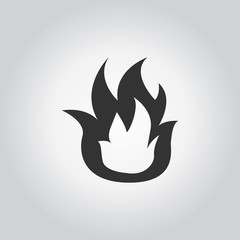 Fire icon. Industy black grey icons set. Flat design style. Vect