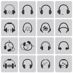 silhouettes of headphones Black icon set3. Vector Illustration e
