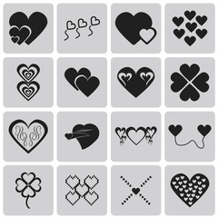 Hearts Black icons set. Vector Illustration eps10