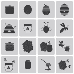Honey Bee Black icons set2. Vector Illustration eps10