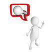 white 3d man with idea lightbulb in speech bubble