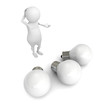 white 3d man thinking a new idea above light bulbs