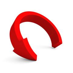 round red arrow on white background