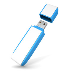 Blue USB flash drive on white background