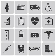 Medical Nurse Hospital Black icons set2. Vector Illustration eps