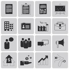 Planning Management and Business Black Icons set. Vector Illustr