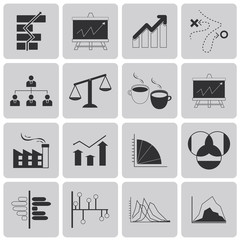 Planning Management and Business Black Icons set3. Vector Illust