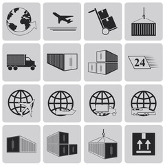 Logistic and Shipping Black icons set2. Vector Illustration eps1
