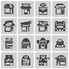 Shop Store Black icons set3. Vector Illustration eps10