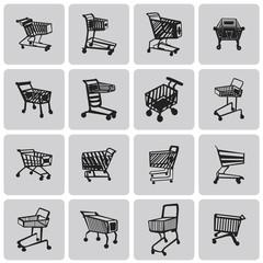 Shopping Cart Black Icon Set2. Black Vector Illustration eps10