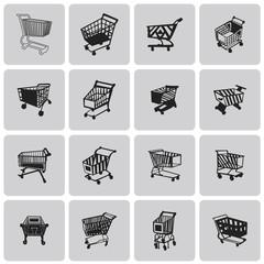 Shopping Cart Black Icon Set. Vector Illustration eps10