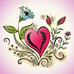 Floral heart illustration - decorative flowering garden