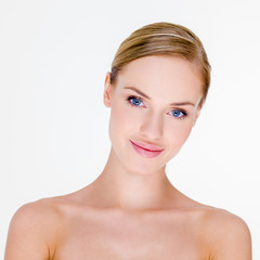 Blond Woman with Bare Shoulders in Studio
