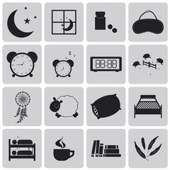 sleep concept black icons set. Black Vector Illustration eps10