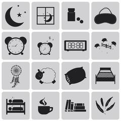 sleep concept black icons set. Black Vector Illustration eps10