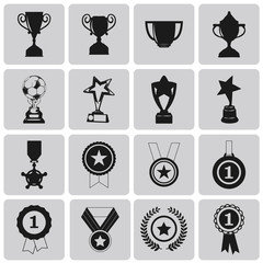 black trophy and awards icons set2. Black Vector Illustration ep