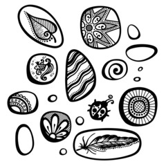 Vector Set of Ornate Pebbles. Collection of Patterned Deco Eleme