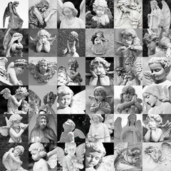 remembrance patter - made of many cemetery angelic statues