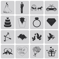 Wedding, marriage, bridal icon set2. Black Vector Illustration e