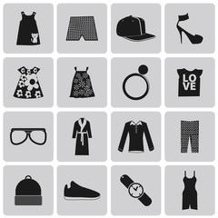 Clothes Black Icon set. Vector Illustration eps10