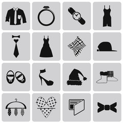 Clothes Black Icon set3. Vector Illustration eps10