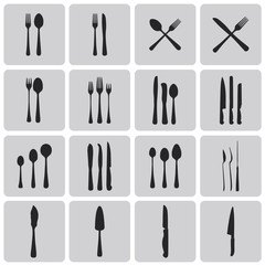 Cutlery Black icons set. Vector Illustration eps10