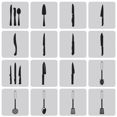 Cutlery Black icons set3. Vector Illustration eps10