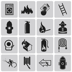 Fire related Black icon set. Vector Illustration eps10