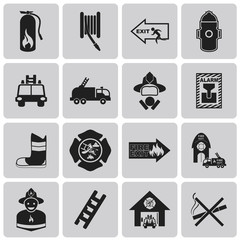 Fire related Black icon set3. Vector Illustration eps10