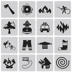 Fire related Black icon set2. Vector Illustration eps10