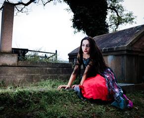 Sitting vampire girl