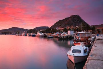 Morning in Nafplio harbour, Greece.
