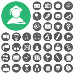 Teacher School and Education Icons set. Vector Illustration eps1
