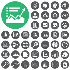 Market analysis and diagrams icons set. Vector Illustration eps1