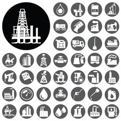 Oil platform Energy production icons set. Vector Illustration ep