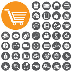 Shopping and E-commerce icons set. Vector Illustration eps10