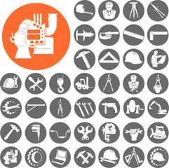 Engineer gears, tools icon set. Vector Illustration eps10