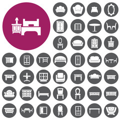 Furniture interior Icons set. Vector Illustration eps10